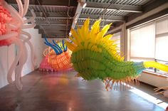 """It's not glass, it's BALLOONS! Jason Hackenwerth's """"Orgasmoebic"""" solo exhibition in LA. Groovy."""