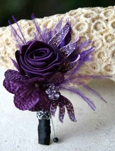 Dark purple boutonniere, but less sparkly and flapper-like Purple Boutonniere, Groomsmen Boutonniere, Corsage And Boutonniere, Boutonnieres, Burlap Boutonniere, Wedding Boutonniere, Homecoming Flowers, Prom Flowers, Purple Flowers