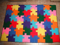 Autism awareness puzzle crochet blanket afghan by katseye2768, $200.00