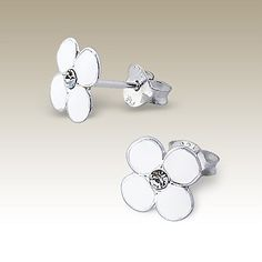 Flower ear studs with crystal stones - Finishing: E-coat 925 Sterling silver Design from Bangkok925.com  Dimensions:  0.8x0.8cm.  Nice Silver Children Ear Studs at $2.27