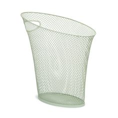 "Visible trash or trash bag / Seam on shorter skinny end / Skinny Mesh Waste Can in Mint Green / Umbra / $13 / 13.25"" by 6.75"" by 13"", 8 qts."