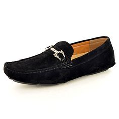 New Mens Black Casual Loafers Moccasins Slip on Driving Shoes (UK 6 / EU 40, Black)