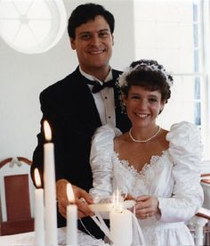 Dan Grossman and Jan St. Onge of Clayton, MO on their wedding day at Thompson Center Chapel, 1989. Missouri History Museum. collections.mohistory.org #vintagewedding #1980sstyle