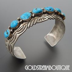 NATIVE AMERICAN WILBERT BENALLY NAVAJO STERLING SILVER AMERICAN TURQUOISE STAMPED CUFF BRACELET