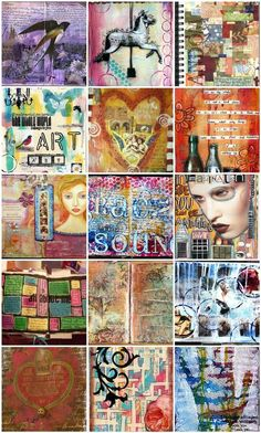 ~ Art Journals ~ Repinning because the top left one is from my art journal and it's weird to see it on my pinterest (weird, but cool)