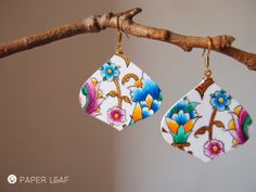 Tazhib BookBorder_03 | Handpainted paper earrings | Acrilic on Canson cardstock | Paper Leaf