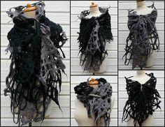 monochrome felted scarf set of 2 holey scarves wool shawl