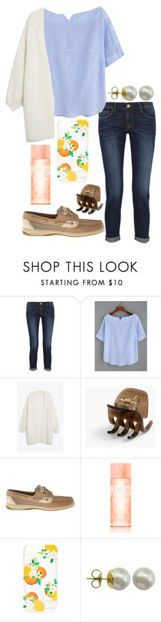"""""""Monday🤷🏻♀️"""" by ava-navarrrroo ❤ liked on Polyvore featuring Frame, Monki, J.Crew, Sperry, Victoria's Secret PINK, Kate Spade and Majorica"""
