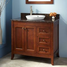"36"" Mayfield Vanity for Semi-Recessed Sink - Medium Cherry"