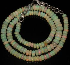 """81 Crts 1 Strands 5 to 7 mm 17"""" Beads necklace Ethiopian Welo Fire Opal  A++1046"""