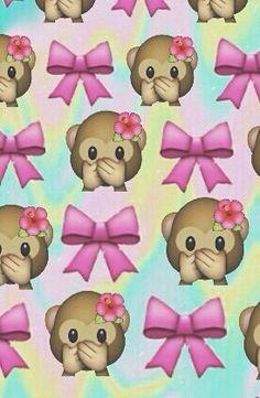 Bows + monkeys = so cute🙊🎀 Ipod Wallpaper, Cute Emoji Wallpaper, Cellphone Wallpaper, Pattern Wallpaper, Wallpaper Backgrounds, Emoji Singe, Emoji Love, Emoticons, Emoji Stickers