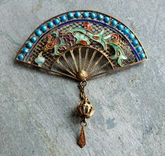 Antique Chinese Silver Enamel Dragon Fan by thecaravancollection, $145.00