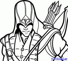 Assassin's Creed 3 Symbol | how to draw connor, connor kenway from assassins creed step 7