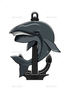 Whale And Anchor Heraldic Icon