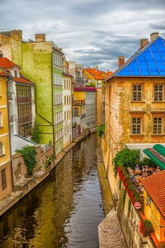 Canal by Charles Bridge in Prague, Czech Republic