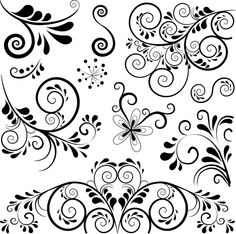 Black floral ornament pattern vector free – Top Of The World Motif Design, Design Elements, Floral Design, Stencil Patterns, Stencil Designs, Free Vector Ornaments, Rosas Vector, Ornament Pattern, Swirl Pattern