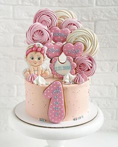 1 Year Old Birthday Cake, Baby Girl Birthday Cake, Candy Birthday Cakes, Bithday Cake, Elegant Birthday Cakes, Baby Girl Cakes, First Birthday Cakes, Cake Decorating Supplies, Cookie Decorating