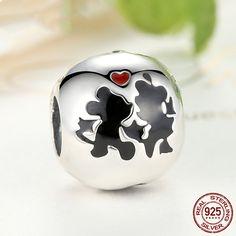 Topolino e Minnie Forever Love Beads, Charms 100% gioiello in argento sterling 925 si adatta a pandora charm e braccialetto europeo di OceanBijoux su Etsy