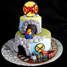 Two tier train cake