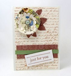 Any Occasion Card  Just for You Card  Shabby by PrettyByrdDesigns
