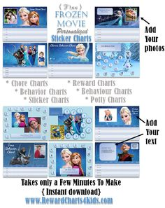 Frozen reward charts which can be customized with your own photos and text. Instant download. Includes chore charts, behavior chart, reward charts, potty charts, behaviour charts and sticker charts.