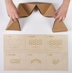 Flip Food : lunch box using a cutting board, pizza cutter and cookie stamp (Altered Appliances by Piet Zwart Institute Students Origami Folding, Paper Folding, Origami Paper, Paper Art, Paper Crafts, Do It Yourself Baby, Innovative Packaging, Cardboard Design, Paper Architecture