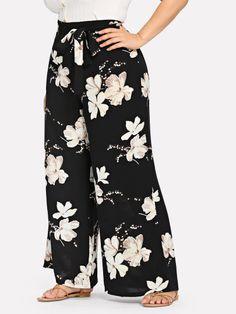 Pantaloni con stampa floreale con cintura Pantaloni A Stampa Floreale 44b12c70968