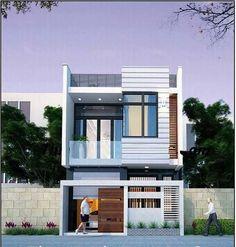 Modern Small House Design, Modern Exterior House Designs, House Front Design, Front Elevation Designs, House Elevation, 20x40 House Plans, Townhouse Designs, Two Storey House, Facade Architecture