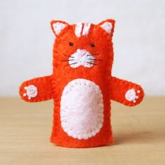 Felt finger puppet, cat, animal puppet, storytime puppet