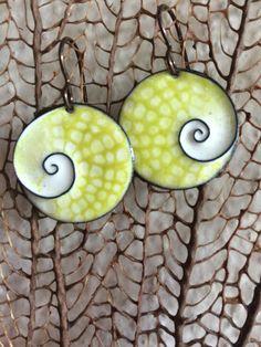 Copper Enamel Earrings/Cloisone Spiral/Scroll/Nature Art/Costa