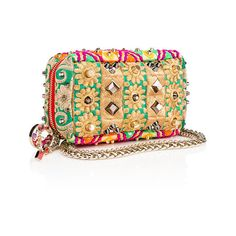 Piloutin Clutch  Multicolor Embroidered ribbons - Handbags - Christian... (€1.560) ❤ liked on Polyvore featuring bags, handbags, clutches, christian louboutin, beige purse, mini hand bags, colorful purses and colorful clutches
