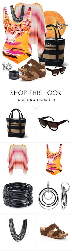 """Santa Barbara Poolside"" by kaylyn-80864 ❤ liked on Polyvore featuring Lands' End, CÉLINE, Missoni Mare, Emilio Pucci, ABS by Allen Schwartz, Ice, Venus and Lady Godiva"