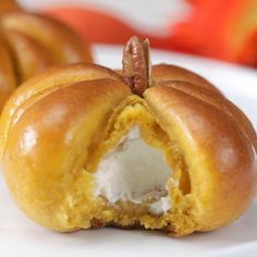 Cream Cheese-Stuffed Pumpkin Dinner Rolls - Cooking TV Recipes Win Thanksgiving with these cream cheese stuffed pumpkin rolls. Cheese Pumpkin, Pumpkin Cream Cheeses, Pumpkin Bread, Pumpkin Rolls, Pumpkin Yeast Roll Recipe, Pumpkin Puree, Pumpkin Dinner Rolls Recipe, Easy Holiday Recipes, Thanksgiving Recipes