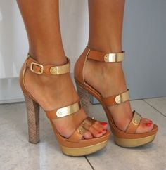 Brown and gold high heels