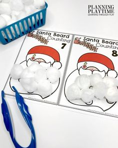 December Preschool Binder: Santa Beard Count & Create - Fine Motor Practice.
