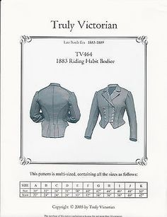 Schnittmuster Truly Victorian TV 464: 1883 Riding Habit Bodice