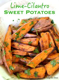 Lime-Cilantro Sweet Potatoes: These are the best roasted sweet potatoes ever! | Ms. Toody Goo Shoes #sweetpotatoes