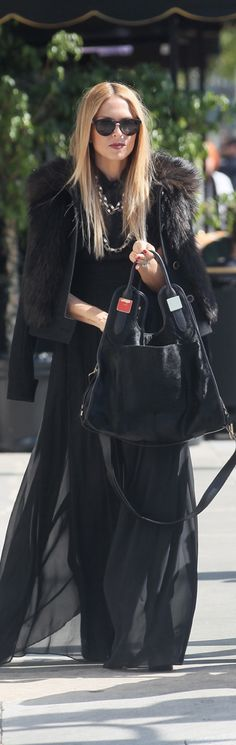 Rachel Zoe style , maxi skirt & fur coat