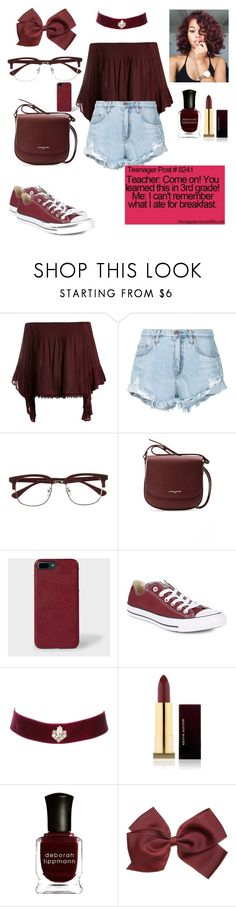 """Burgundy baby"" by abigail-daisy ❤ liked on Polyvore featuring Sans Souci, Nobody Denim, EyeBuyDirect.com, Lancaster, Paul Smith, Converse, Charlotte Russe, Kevyn Aucoin and Deborah Lippmann"