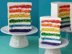 I love colour! and nothing would make me happier than to chow down on a slice of this incredible rainbow cake! Baby Food Recipes, Great Recipes, Cake Recipes, Rainbow Layer Cakes, Cake Rainbow, Rainbow Food, Neon Rainbow, Rainbow Brite, Rainbow Colors