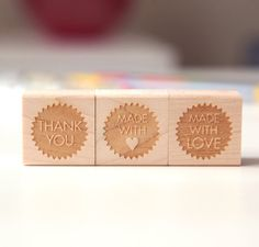 Choose 3 Mini Rubber Stamps Wood Mounted Thank by HuntersHideaway, $41.50