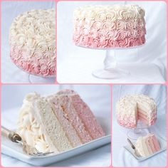 Rose Ombre Cake - with Step by Step Photos, it's really simple and super impressive! Also, recipe for white chocolate buttercream Rose Ombre Cake, Rose Cake, Pretty Cakes, Beautiful Cakes, Amazing Cakes, White Chocolate Buttercream, Mothers Day Cake, Fancy Cakes, Rose Bouquet