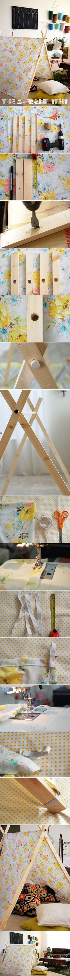 DIY Tutorial: A-Frame Tent. Maybe this will go better than my tipi attempt. Diy Projects To Try, Craft Projects, Sewing Projects, Diy For Kids, Crafts For Kids, Diy Crafts, Diy Zelt, A Frame Tent, Deco Kids
