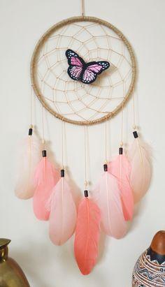 Making Dream Catchers, Dream Catcher Decor, Small Dream Catcher, Pinterest Gift Ideas, Coral Pink, Purple, Woodland Decor, Butterfly Decorations, Gcse Art