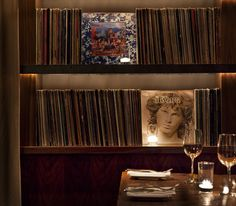 Image 17 of 18 from gallery of Chambers Eat + Drink / Mr. Important Design. Photograph by Jeff Dow Visual Merchandising, Boutique Hotels San Francisco, Vinyl Record Display, Record Shelf, Bar Design Awards, San Francisco Restaurants, Best Boutique Hotels, Unique Restaurants, Branding