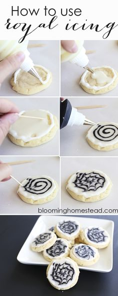 Beautiful Halloween Cookies using royal icing. Super easy to follow tutorial for frosted Halloween Spider Web Cookies.