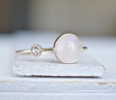 Diamond Ring, Rainbow Moonstone Ring, Engagement Ring, Diamond Moonstone Ring, Gift for her, Wedding Gift, Delicate Gold Ring, Stack Ring  A gorgeous