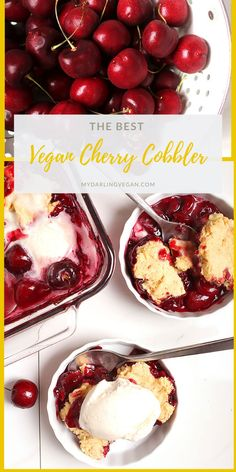 The BEST Vegan Cherry Cobbler : You're going to love this vegan cherry cobbler. It's a sweet and tart cherry pie filling topped with buttery biscuits and baked to perfection. Serve with non-dairy vanilla ice cream for the perfect summer dessert. Tart Cherry Pies, Cherry Cobbler, Vegan Dessert Recipes, Healthy Desserts, Vegan Cherry Pie Recipe, Non Dairy Desserts, Vegetarian Sweets, Holi, Cherry Desserts