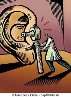 Stock Illustration - Doctor looking through an otoscope at a giant ear - stock illustration, royalty free illustrations, stock clip art icon, stock clipart…