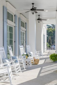 Alpha Delta Pi — Kerry Spears Interiors Cottage Porch, Cottage Homes, White Rocking Chairs, Wood Plank Ceiling, White Beadboard, Blue Shutters, White Ceiling Fan, Dark Wood Floors, House Viewing